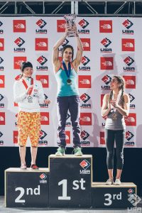 Podium feminino do Bouldering National Championships